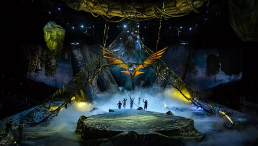 """This undated image released by The Publicity Office shows a scene from Cirque du Soleil's """"Toruk,"""" inspired by James Cameron's movie """"Avatar."""" The Montreal-based hyperactive circus company plans for two traveling shows, """"Kurios"""" and """"Toruk,"""" to land in New York City next fall, as well as """"Paramour"""" this spring specially designed for a Broadway theater. (Errisson Lawrence/The Publicity Office via AP)"""