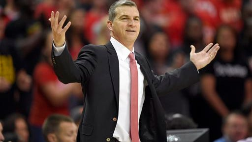 Maryland head coach Mark Turgeon gestures during the first half of an NCAA college basketball game against Mount St. Mary's on  Friday. The Terps take on Georgetown  on Tuesday night.