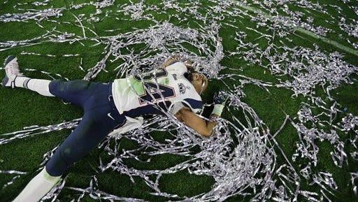 New England Patriots running back Shane Vereen (34) celebrates after winning last year's Super Bowl.