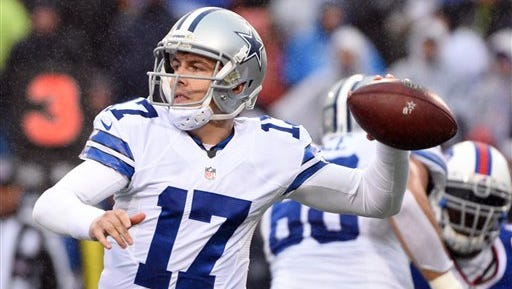 Dallas Cowboys quarterback Kellen Moore throws against the Buffalo Bills during the second half of Sunday's game.