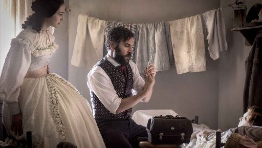 "Hannah James and Josh Radnor in ""Mercy Street."""