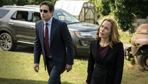 "Fox Mulder (David Duchovny), left, and Dana Scully (Gillian Anderson) in the six-part return of ""The X-Files."""