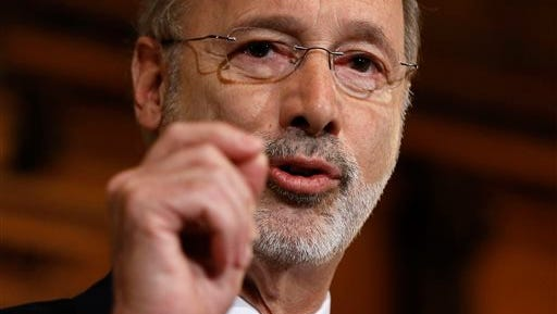 FILE - This Dec. 29, 2015, file photo shows Pennsylvania Gov. Tom Wolf speaking with members of the media at the state Capitol in Harrisburg, Pa. Pennsylvania government will set a modern state record for gridlock when Gov. Tom Wolf sends lawmakers a new spending plan even as they fight over the current budget. On Tuesday, Feb. 9, 2016,  the first-term Democrat will deliver an approximately $32 billion plan to the Republican-controlled Legislature. He'll need to break Republican resistance to a $1 billion-plus tax increase.