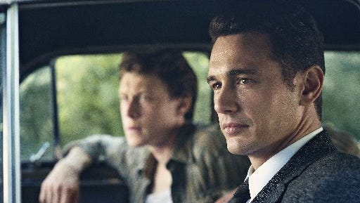 James Franco as Jake Epping, right, and George MacKay as Bill Turcotte in a scene from the eight-part series, '11.22.63,' streaming on Hulu beginning Monday, Feb. 15, 2016.