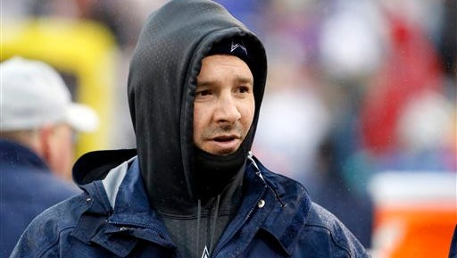 Dallas Cowboys quarterback Tony Romo looks on during the second half of an NFL football game against the Buffalo Bills.