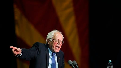 Democratic presidential candidate, Sen. Bernie Sanders, I-Vt., speaks at a campaign rally at the Phoenix Convention Center in Phoenix, Tuesday, March 15, 2016.