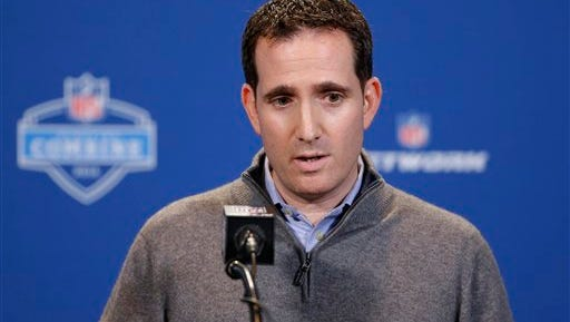 Philadelphia Eagles executive vice president of football operations Howie Roseman speaks during a press conference at the NFL football scouting combine in Indianapolis, Wednesday, Feb. 24, 2016. (AP Photo/Michael Conroy)