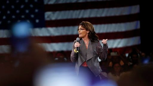 Former Alaska Gov. Sarah Palin speaks on behalf of Republican presidential candidate Donald Trump before Trump arrives at a campaign event in Tampa, Fla., Monday, March 14, 2016.