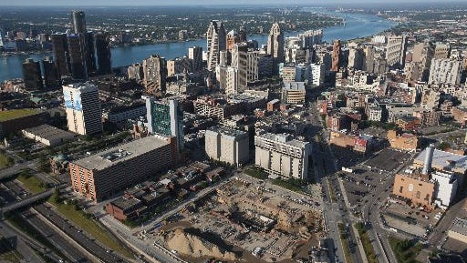 Aerial View of Downtown Detroit, located in Wayne County, Michigan.