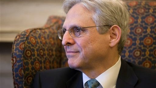 Judge Merrick Garland, President Barack Obama's choice to replace the late Justice Antonin Scalia on the Supreme Court, sits during a meeting with Sen. Patrick Leahy, D-Vt., the top Democrat on the Senate Judiciary Committee which considers judicial nominations, on Capitol Hill in Washington, Thursday, March 17, 2016. Senate Majority Leader Mitch McConnell, R-Ky., has been steadfast in his refusal to hold a confirmation hearing for any nominee during the waning months of Obama''s presidency.