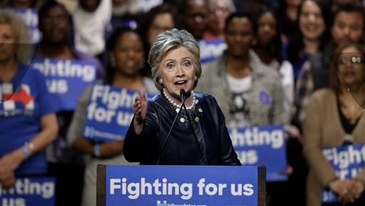 Democratic presidential candidate Hillary Clinton speaks during a rally at the Apollo Theater in New York, Wednesday, March 30, 2016.