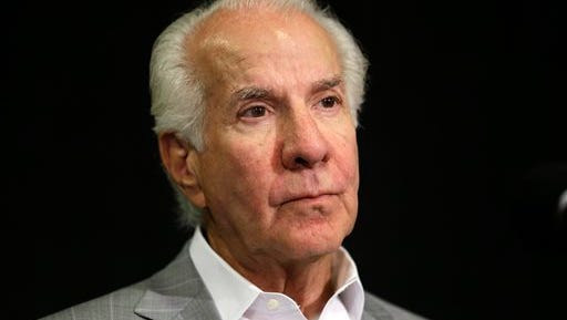 """This is a July 9, 2013, file photo showing Philadelphia Flyers chairman Ed Snider during a news conference in Philadelphia. Ed Snider, the Philadelphia Flyers founder whose """"Broad Street Bullies"""" became the first expansion team to win the Stanley Cup, died Monday, April 11, 2016 after a two-year battle with cancer. He was 83."""