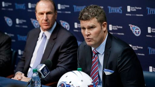 In this Jan. 18 file photo, recently hired Tennessee Titans general manager Jon Robinson, right, and head coach Mike Mularkey answer questions at a news conference in Nashville. The Tennessee Titans have agreed to trade the top overall pick in this month's NFL draft to the Los Angeles Rams. The Titans announced the deal Thursday morning.