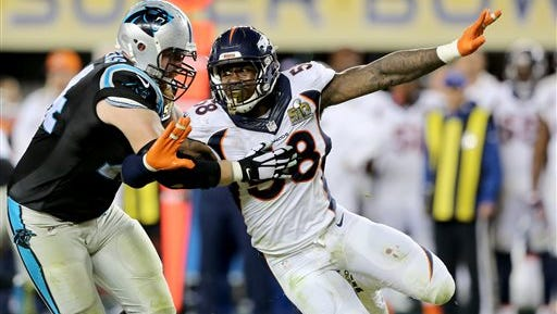 FILE - In this Sunday, Feb. 7, 2016 file photo, Denver Broncos' Von Miller (58) makes an outside rush against the Carolina Panthers' Mike Remmers (74) during the NFL Super Bowl 50 football game in Santa Clara, Calif.  Contract talks between the Denver Broncos and their star linebacker Von Miller have broken off.