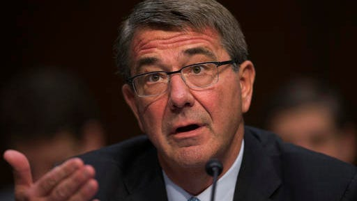 FILE - In this April 28, 2016 file photo, Defense Secretary Ash Carter testifies on Capitol Hill in Washington. The NATO alliance is considering establishing a rotational ground force in the Baltic states and possibly Poland, reflecting deepening worry about Russian military assertiveness, Carter said Monday, May 2, 2016.  (AP Photo/Evan Vucci, File)