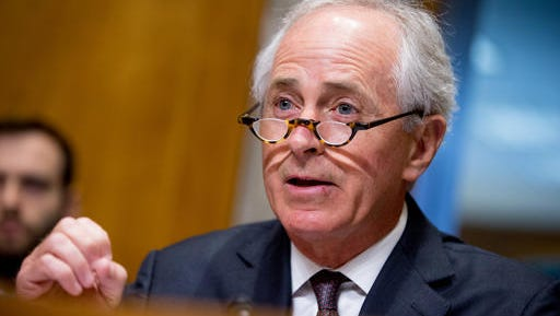 In this photo taken April 5, 2016, Senate Foreign Relations Committee Chairman Sen. Bob Corker, R-Tenn. speaks on Capitol Hill in Washington. Presumptive Republican presidential nominee Donald Trump met with Corker in New York on Monday, May 23, 2016, intensifying speculation that the U.S. senator from Tennessee may be on Trump's vice presidential shortlist. (AP Photo/Andrew Harnik)