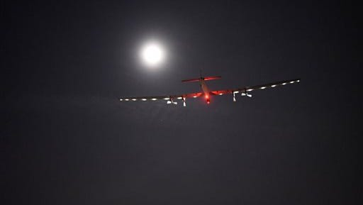"""In this photo provided by Solar Impulse, """"Solar Impulse 2,"""" the solar airplane of Swiss pioneers Bertrand Piccard and Andre Borschberg, moves through the sky shortly after the take off from Dayton International Airport, in Dayton, Ohio to Lehigh Valley International Airport in Allentown, Pa., on Wednesday, May 25, 2016. The plane's departure from Dayton was delayed from Monday as project officials checked for possible damage after fans that keep the mobile hangar inflated had a power failure."""