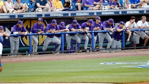 LSU players react to their 1-0 loss to Florida on Saturday.