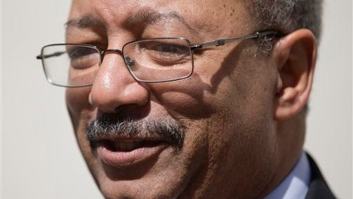 U.S. Rep. Chaka Fattah, D-Pa., speaks with members of the media outside the federal courthouse Friday, March 11, 2016, in Philadelphia. U.S. Rep. Chaka Fattah was found guilty Tuesday of racketeering, fraud, money laundering and other counts.