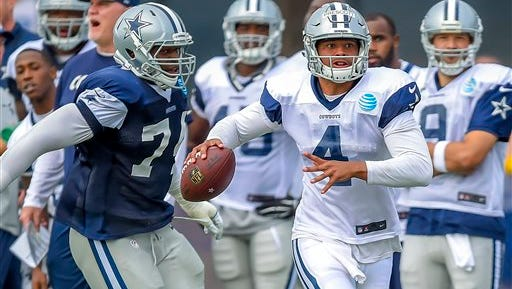 Dallas Cowboys defensive end Lawrence Okoye (74) rushes quarterback Dak Prescott (4) as he attempts to get a pass off during Dallas Cowboys' NFL football training camp, Monday.