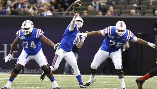 Louisiana Tech left guard O'Shea Dugas (75) will be out a few weeks with a left foot sprain.