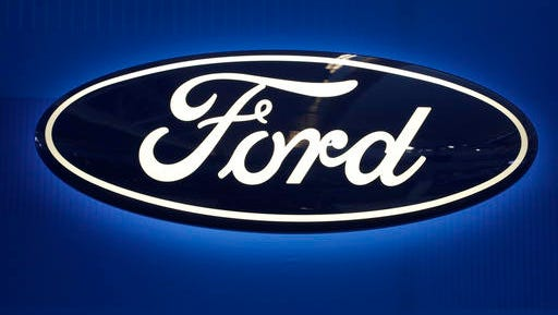 The Ford logo is shown on display at the Pittsburgh International Auto Show in Pittsburgh on Feb. 22, 2016.