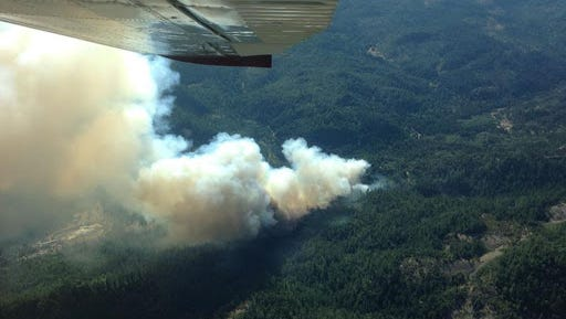The 530-acre fire is burning  north of Medford.