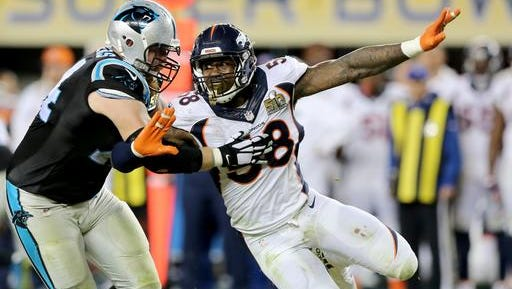 FILE - In this Sunday, Feb. 7, 2016, file photo, Denver Bronco's Von Miller (58) makes an outside rush against the Carolina Panthers' Mike Remmers (74) during the NFL Super Bowl 50 football game in Santa Clara, Calif. Super Bowl MVP Von Miller, who transformed himself from sports superstar to mainstream celebrity during a six-month victory tour that included four dozen TV appearances, missed the entire offseason program but showed up in fantastic shape after signing the biggest contract ever for a nonquarterback.  (AP Photo/Gregory Payan, File)