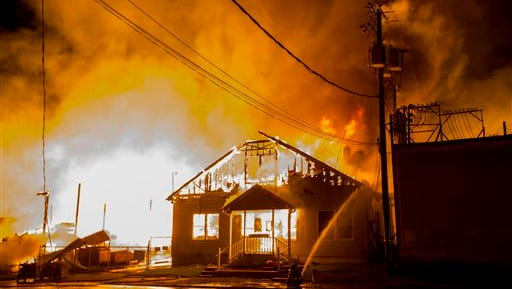 Massive fire at a lumberyard in Lemoyne, Pa., Sept. 12. The blaze broke out Monday night at Lafferty and Co. Inc. in Lemoyne, just across the Susquehanna River from Harrisburg.