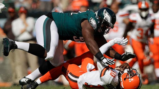 Eagles defensive tackle Fletcher Cox sacks Cleveland quarterback Robert Griffin III in the third quarter Sunday during the Eagles' 29-10 win.