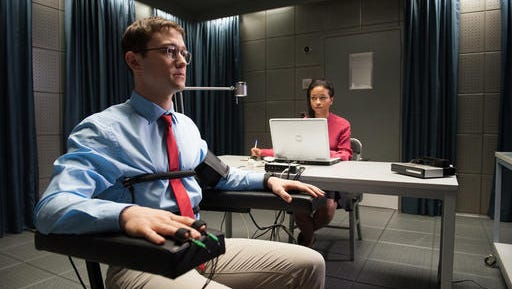 """This image released by Open Road shows Joseph Gordon-Levitt in a scene from, """"Snowden."""""""