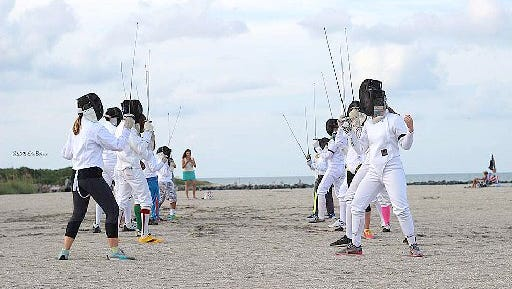 The Treasure Coast Fencing Club held a Fencing Flash Mob on Sept. 6 at Fort Pierce Jetty Beach.