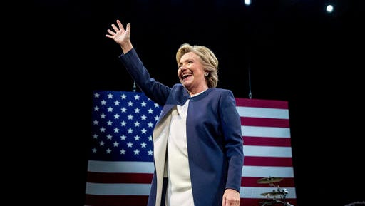 Democratic presidential candidate Hillary Clinton waves after speaking at a fundraiser at the Civic Center Auditorium in San Francisco earlier this week.