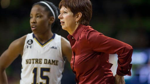 FILE - In this Nov. 18, 2015, file photo, Notre Dame head coach Muffet McGraw looks on with Lindsay Allen (15) in the second half of an NCAA college basketball game against Toledo in South Bend, Ind. Three-time defending champion Notre Dame is the pick to win the Atlantic Coast Conference again.  The Irish have been selected by the coaches as the preseason favorite ever since the school joined the ACC before the 2013-14 season. (AP Photo/Robert Franklin, File)