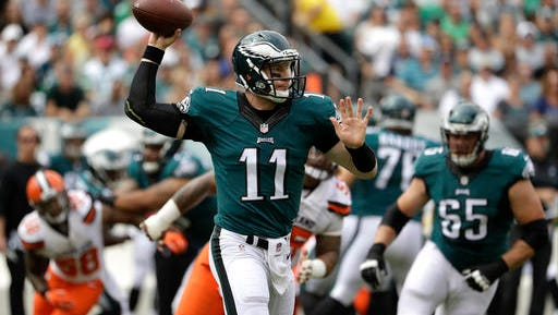 Eagles quarterback Carson Wentz has attempted 90 passes the last two games. The Eagles would like to reduce that number.