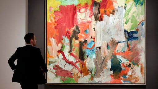 "FILE - In a Friday, Nov. 4, 2016 file photo, William de Kooning's ""Untitled XXV"" is displayed at Christie's, in New York. Christie's predicts that ""Untitled XXV"" will set a new auction record for a work by the abstract expressionist artist at its sale Tuesday evening, Nov. 15, in New York."