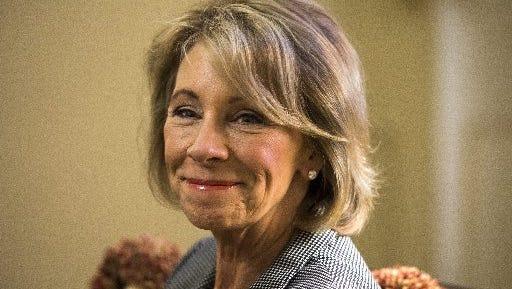 President-elect Donald Trump's nominee for Education Secretary, Betsy DeVos. DeVos, a billionaire from Michigan, is the daughter-in-law of Amway co-founder Richard DeVos.