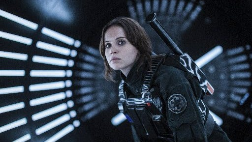 """This image released by Lucasfilm Ltd. shows Felicity Jones as Jyn Erso in a scene from, """"Rogue One: A Star Wars Story."""""""