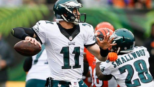 Eagles quarterback Carson Wentz, shown last Sunday against the Cincinnati Bengals, has taken every snap so far this season.