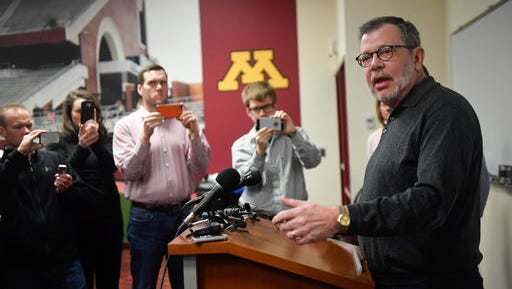 University of Minnesota President Eric Kaler speaks to members of the media Saturday after players announced the end of their boycott of the Holiday Bowl in Minneapolis. The team will play in the Holiday Bowl, reversing a threat to boycott the game because of the suspension of 10 players accused of sexual assault.