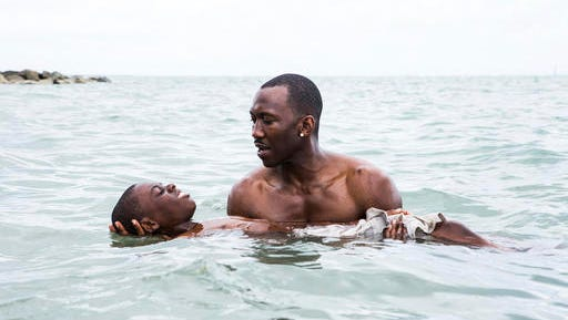 "This image released by A24 shows Alex Hibbert, foreground, and Mahershala Ali in a scene from the film, ""Moonlight."""