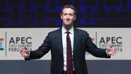 """FILE - In this Nov. 19, 2016, file photo, Mark Zuckerberg, chairman and CEO of Facebook, speaks at the CEO summit during the annual Asia Pacific Economic Cooperation (APEC) forum in Lima, Peru. Zuckerberg unveiled his new artificial intelligence assistant named """"Jarvis"""" in a Facebook post on Dec. 19, 2016."""