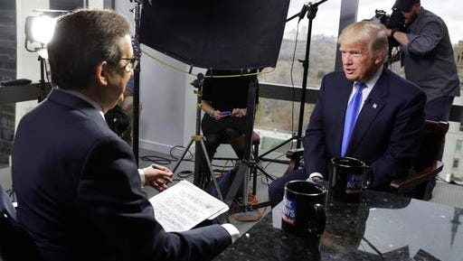 """FILE - In this Saturday, Dec. 10, 2016 file photo, President-elect Donald Trump, right, is interviewed by Chris Wallace of """"Fox News Sunday"""" at Trump Tower in New York. Comparing the five weeks after the election to the white-hot campaign days of October 2016, Fox's prime-time audience is down 8 percent, the Nielsen company said. That's a much smaller drop than rivals CNN and MSNBC, and smaller than all of the networks historically following elections."""