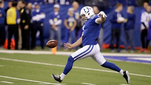 FILE - In this Dec. 11, 2016 file photo, Indianapolis Colts punter Pat McAfee warms up before the start of an NFL football game between the Indianapolis Colts and the Houston Texans in Indianapolis. The Colts will play the Oakland Raiders on Saturday, Dec. 24. (AP Photo/Darron Cummings, File)