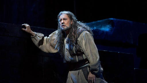 "This Dec. 9, 2016 photo released by the Metropolitan Opera shows Placido Domingo performing in Verdi's ""Nabucco,"" at the Metropolitan Opera in New York. Domingo, who turns 76 this month, is enjoying a triumph in Verdi's third opera, which tells the story of the Babylonian tyrant Nebuchadnezzar and his sacking of the temple of Jerusalem. The final performance will be broadcast to movie theaters worldwide live in HD this Saturday, Jan. 7."