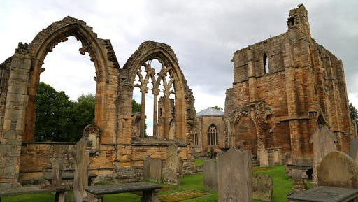 This photo taken June 29, 2016, shows the ruins of Elgin Cathedral. It is an impressive sight, especially the 13th-century west front, in Elgin, in Scotland's Speyside region. The cathedral is across the street from Johnstons of Elgin, maker of fine cashmere.
