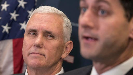 Vice President-elect Mike Pence (left), joins Speaker of the House Paul Ryan, R-Wis., at a news conference following a closed-door meeting with the GOP caucus at the Capitol in Washington, Wednesday, Jan. 4, 2017. Pence and Ryan promised repeal of President Obama's health care law now that the GOP is in charge of White House and Congress.