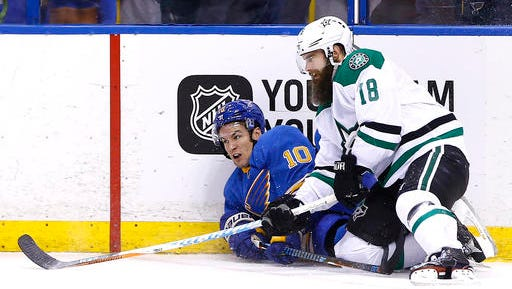 St. Louis Blues' Scottie Upshall, left, and Dallas Stars' Patrick Eaves get tangled up as they fall to the ice during the second period of an NHL hockey game Saturday, Jan. 7, 2017, in St. Louis. (AP Photo/Billy Hurst)