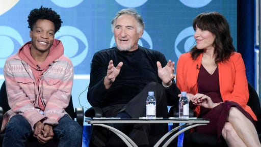 """Jermaine Fowler, from left, Judd Hirsch and Katey Sagal attend the """"Superior Donuts"""" panel at The CBS portion of the 2017 Winter Television Critics Association press tour on Monday, Jan. 9, 2017, in Pasadena, Calif."""