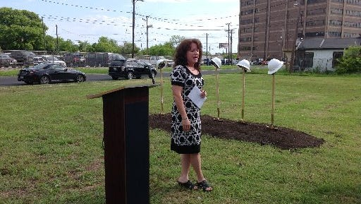Behavioral Health Center of Nueces County Chief Executive Director Diane Lowrance speaks at a 2015 groundbreaking at the corner of 10th Street and McKenzie Street for a new mental health services day center.